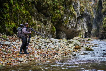 Professional nature photographer in the gorge