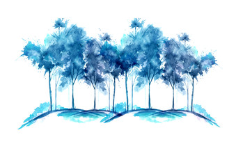 Watercolor illustration. Group of blue trees in winter, grove, garden. Landscape winter. Isolated on white background