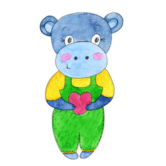 Cute hippo cartoon with heart. Watercolor hand drawn illustration