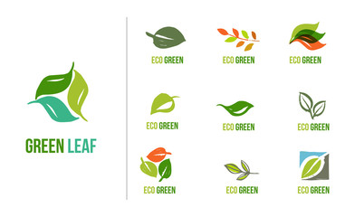 Set of hand drawn leaves logos, green leaf, sketches and doodles of leaf and plants, green leaves vector collection