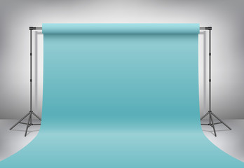 Empty photo studio. Realistic 3D template mock up. Backdrop stand (tripods) with pastel turquoise, blue paper backdrop. Gray background.