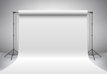 Empty photo studio. Realistic 3D template mock up. Backdrop stand (tripods) with white paper backdrop. Gray background.  Wall mural