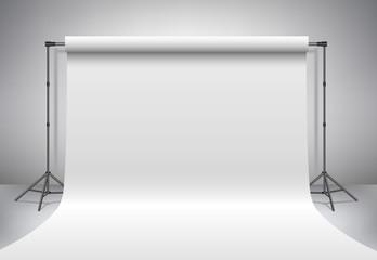 Obraz Empty photo studio. Realistic 3D template mock up. Backdrop stand (tripods) with white paper backdrop. Gray background.  - fototapety do salonu