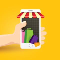 Online mobile shopping concept background.
