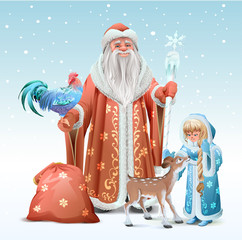 Russian Father Frost, Snow Maiden, blue rooster symbol 2017 and fawn