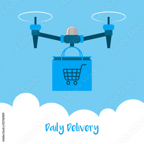 Delivery drone with the package bag  Daily delivery