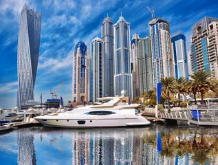 Dubai Marina with boats in Dubai, United Arab Emirates, Middle East