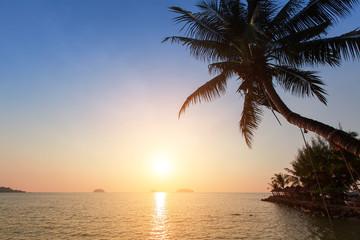 Beautiful sunset at a beach in tropics.