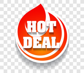 Flaming hot deal icon or symbol with stylized fire, shadow on a