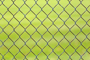 Chain link fence with green grass from a baseball field in background.