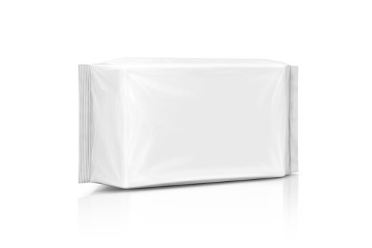 blank packaging paper wet wipes pouch isolated on white