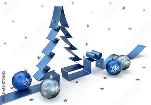 3d schleife weihnachtsbaum mit kugeln geschenk und. Black Bedroom Furniture Sets. Home Design Ideas