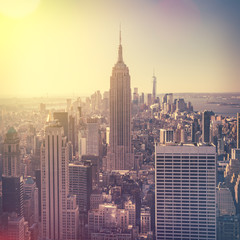 Aerial view of Manhattan skyline at sunrise, New York City, USA
