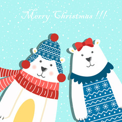 Photo sur Aluminium Hibou Funny couple of polar bears on a blue background with snow