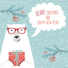 Cute hand drawn winter holidays card with polar bear and hand written text Beary Christmas and happy New Year on snowy background