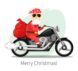 Santa Claus carries a sack of gifts on  cool motorcycle
