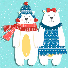 Photo sur Plexiglas Hibou Funny couple of polar bears on a blue background with snow
