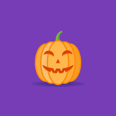 Halloween pumpkin isolated on dark purple background. Flat style icon. Vector illustration.