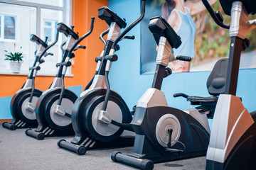 Five exercise bike in the gym