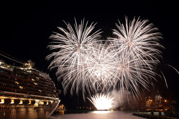 Beautiful and pyrotechnic fireworks in Genoa, Italy / Fireworks in Genoa harbur, Italy;
