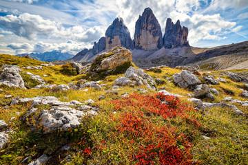 Mountain peaks autumn landscape