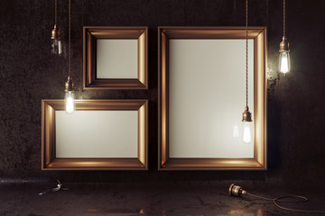 3d render mockup loft scene with vintage copper electric lamps with smooth bokeh effect and blank picture frame on the grunge wall.