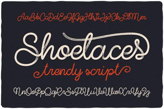 "Trendy textured one line handwritten font script named ""Shoelaces"""