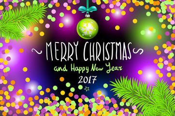 Glowing color Christmas Lights Wreath for Xmas Holiday Greeting Cards Design. Merry Christmas and Happy New Year 2017, vector. confetti, a hand-written inscription, tree branch ball