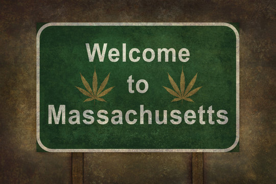 Welcome to Massachusetts with marijuana leaf roadside sign with