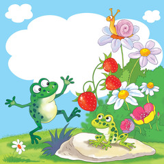 Fine summer day. Two cute frogs, a snail, flowers and strawberry. Illustration for children. Greeting card with free space for your text