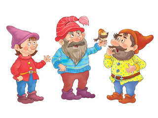 Snow White and seven dwarfs. Fairy tale. Illustration for children. Coloring book. Cute dwarfs isolated on white background. Cartoon characters.