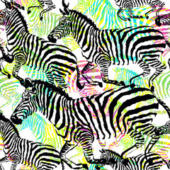 Composition zebra tropic animal in the jungle on colorful painting hand drawn background. Print seamless vector pattern in fashion styles