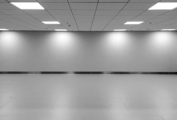 Perspective view of Empty Space Classic Monotone Black White Office Room with Row Ceiling LED Light Lamps and Lights Shade on Wall for Gallery Interior / Template to Mock Up Display Office Furniture