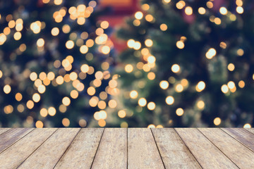 Christmas holiday background with empty wooden table