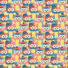 Photo sur Plexiglas Hibou Seamless pattern of colorful owls on a white background
