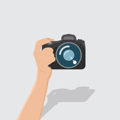 hand hold camera with shadow,flat design,vector eps10