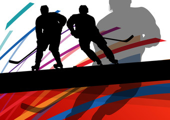 Hockey player sport silhouette vector abstract background line