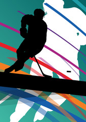 Hockey player sport silhouette vector abstract background