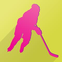 Hockey player man material design vector