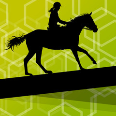 Horse with rider equestrian sport vector background