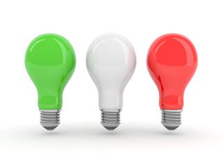 Italian lightbulbs isolated on white background