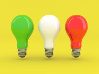 Italian lightbulbs isolated on yellow background