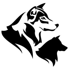 profile wolf head black and white vector design