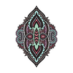 Vector Indian hand drawn hamsa with ethnic ornaments. Beautiful India ethnica ornament. Folk Henna tattoo style