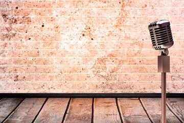 Composite image of retro microphone
