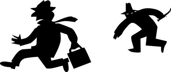 silihouettes-rober-bandit-housebreaker-isolated on white background