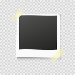 Realistic vector photo frame on sticky tape. Template photo design. Polaroid on transperent
