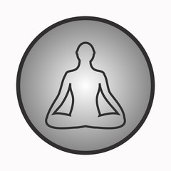 Meditation icon. human meditating in lotus pose.