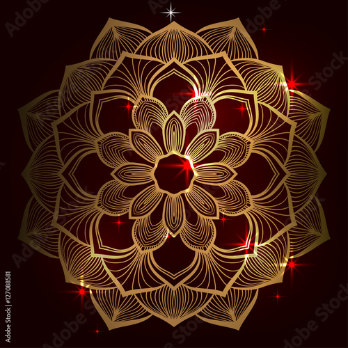 Beautiful Indian Floral Ornament Ethnic Mandala Henna Tattoo Style