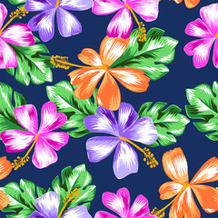 colorful tropical hibiscus print - seamless background